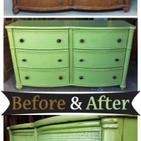 Dresser in Lime Green with Tea stained Glaze - Before & After from Facelift Furniture