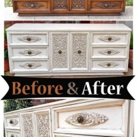 Lg Off White Ornate Dresser - Before & After