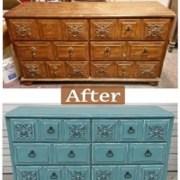 Before & After - Ornate dresser in distressed Sea Blue with Black Glaze. New pulls. From Facelift Furniture.