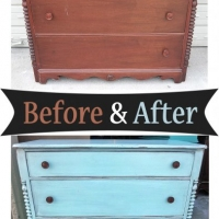 Dresser in distressed Robin's Egg Blue - Before and After from Facelift Furniture
