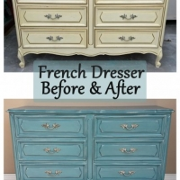 Sea Blue French Dresser Before & After