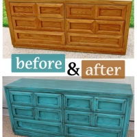 Before & After - Dresser in Turquoise with Black Glaze. From Facelift Furniture.