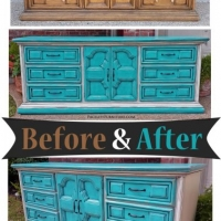 Turquoise & Off White Dresser - Before & After