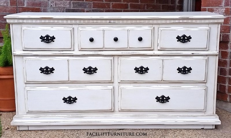 White Distressed Furniture dressers - painted, glazed & distressed - facelift furniture