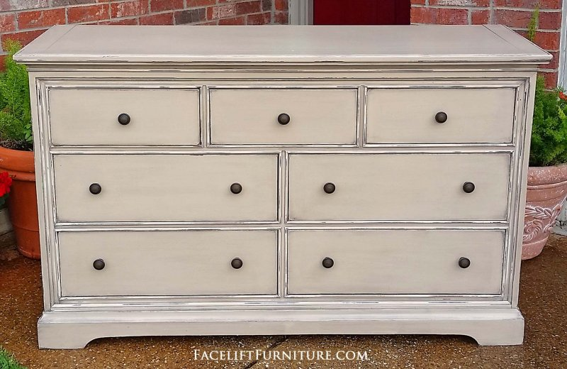 Cherry Dresser In Distressed Oatmeal With Espresso Glaze. Seven Drawers  With New Knobs. 56