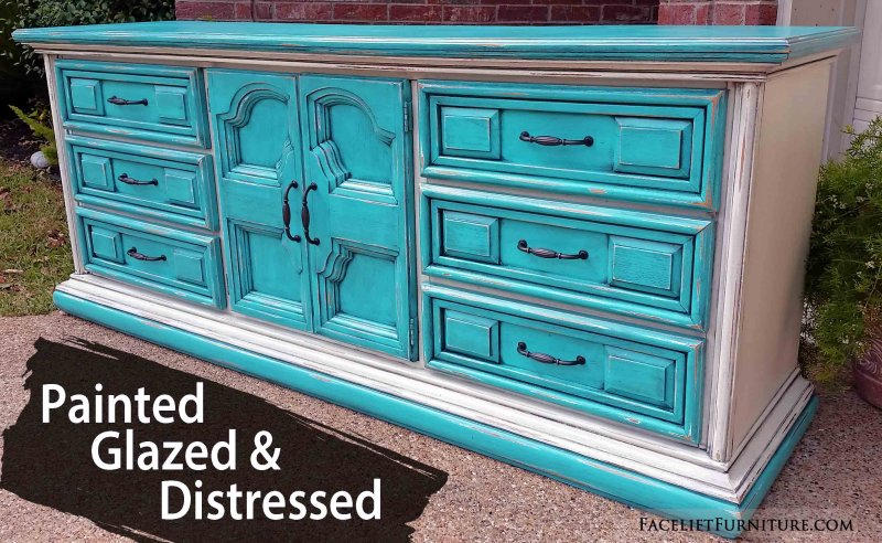 Charmant Large Dresser In Distressed Turquoise And Off White With Black Glaze. Nine  Drawers. 80