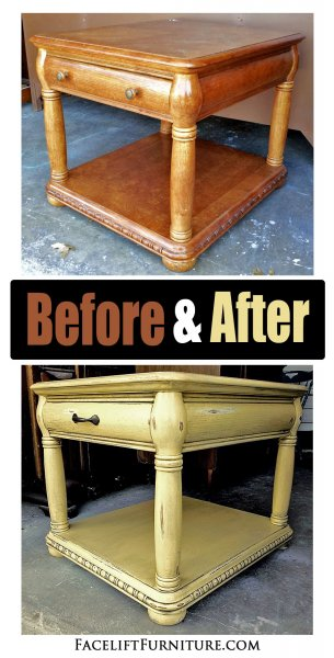 ... Caramel Yellow End Table Before After ...
