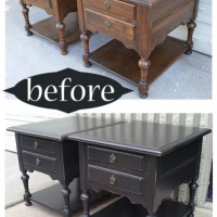 Black Ethan Allen End Tables - Before & After
