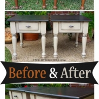Black & Oatmeal End Tables - Before & After