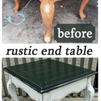 Before & After - Chunky pine End Table in distressed Black and Off White with Espresso Glaze. From Facelift Furniture.