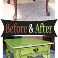 Lime Green Queen Ann End Table - Before & After