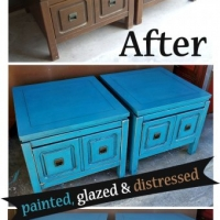 Peacock Blue Retro End Tables - Before & After
