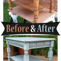 Robin's Egg Blue End Table - Before & After