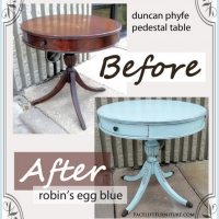 Robin's Egg Pedestal Table Before & After