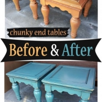 Sea Blue Chunky End Tables - Before & After