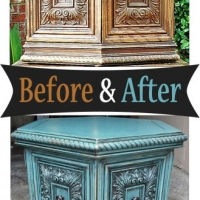 Before & After - Chunky hexagon end table in distressed Sea Blue with Black Glaze. From Facelift Furniture.