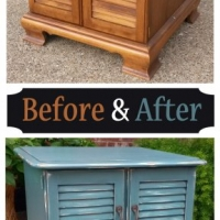 Sea Blue Maple End Table - Before & After