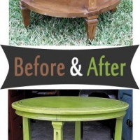 Vintage Round End Table - Before & After