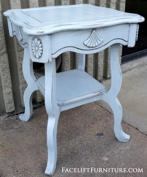 Ornate End Table Custom Painted Distressed Light Blue (provided By  Customer), With Black
