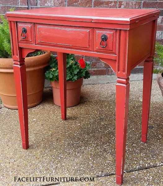 Vintage Sewing Cabinet In Distressed Blazing Orange With Black Glaze.  Repurposed As An End Table