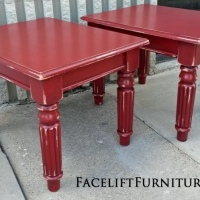 Pine End Tables in Barn Red with Black Glaze, distressed down to White Primer. From Facelift Furniture's End Tables collection.