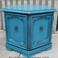Hexagon end table in distressed Peacock Blue and Black Glaze. From Facelift Furniture's End Tables collection.