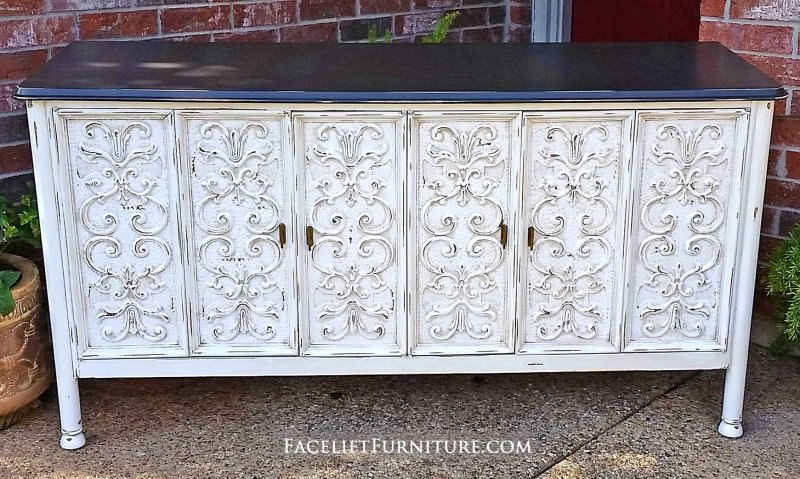 ornate buffet in distressed dark brown and antiqued white with tobacco glaze folding doors - White Buffet