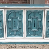 Vintage Stereo Cabinet in distressed Sea Blue & Off White with Black Glaze. Side doors slide to middle, and top opens up to large storage space created by removing stereo components and speakers. A great option for a flat screen TV (photo 1 of 2).