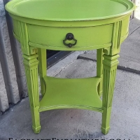 Lime Green Round End Table with Black Glaze. From Facelift Furniture's Lime Green Furniture collection.