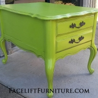 Lime Green French End Table with Black Glaze. From Facelift Furniture's Lime Green Furniture collection.