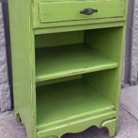 Vintage Nightstand in distressed Lime Green with Black Glaze. From Facelift Furniture's Lime Green Furniture collection.