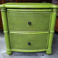 Nightstand in Lime Green with Black Glaze. From Facelift Furniture's Lime Green Furniture collection.