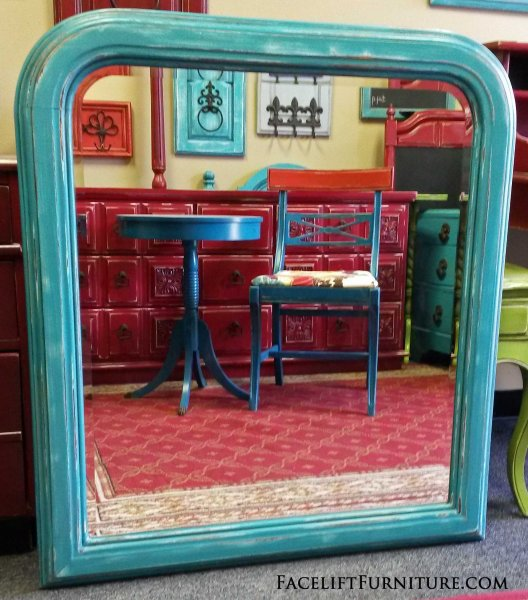 Beveled Mirror In Turquoise With Black Glaze. Heavily Distressed Down To  White Primer For A
