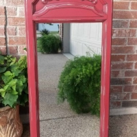 Ornate Mirror in Barn Red with Black Glaze, distressed down to white primer. From Facelift Furniture's Mirrors Collection.