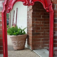 Ornate Mirror in distressed Barn Red with Black Glaze.