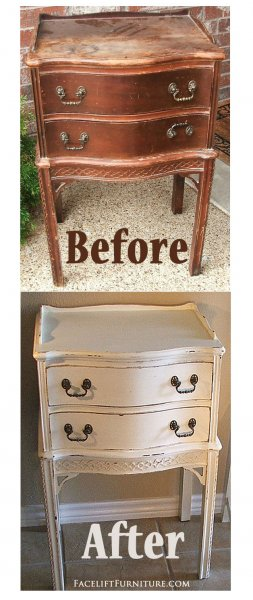 Antique Nightstand In Distressed Antiqued White With Tea Stained Glaze.  Before U0026 After From Facelift