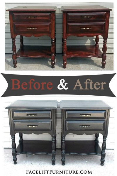 Nightstands In Distressed Black   Before And After From Facelift Furniture