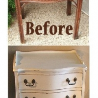 Antique Nightstand in distressed Antiqued White with Tea Stained Glaze. Before & After from Facelift Furniture