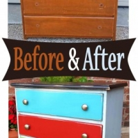 Nightstand in Black, Robin's Egg Blue, Turquoise, Blazing Orange, Lime Green & Peacock Blue - Before & After From Facelift Furniture