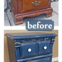 Nightstand in distressed Denim Blue with Black Glaze. Pulls spray painted White - Before and After from Facelift Furniture