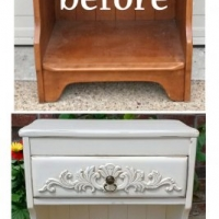 Ornate maple nightstand in distressed off white with Tobacco glaze - Before & After from Facelift Furniture
