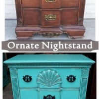 Before & After - Ornate Nightstand in distressed Turquoise with Black Glaze. Original pulls spray painted Black. From Facelift Furniture's Nightstands - Before & After collection.
