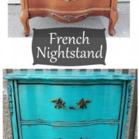 Before & After - French Nightstand in distressed Turquoise with Black Glaze. Original vintage pulls. From Facelift Furniture's Nightstands Before & After collection.
