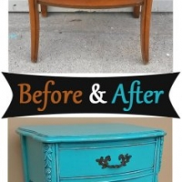 Before & After - French Nightstand in distressed Turquoise with Black Glaze. Original vintage pull. From Facelift Furniture's Nightstands Before & After collection.