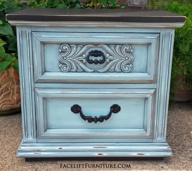 Ornate Nightstand In Distressed Robinu0027s Egg Blue With Black Glaze And Black  Top And Bottom.
