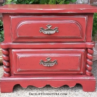 Chunky nightstand in distressed Blazing Orange with Black Glaze. Original vintage pulls.