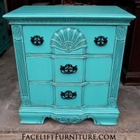 Ornate Nightstand in Turquoise with Black Glaze accenting detailed areas. Vintage Nightstand in distressed Lime Green with Black Glaze. From Facelift Furniture's Nightstands collection.
