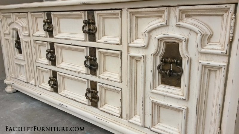 extra large chunky dresser in distressed off white with tobacco glaze original vintage pulls antique distressed furniture