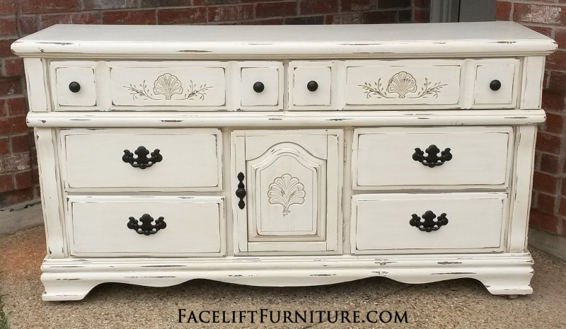 Dresser Is Distressed Off White With Tobacco Glaze. Two Drawers Behind  Drawer. Pulls Painted