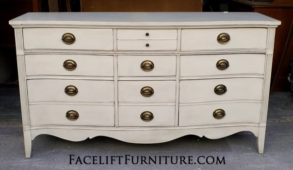 Charmant Dresser Custom Painted Off White With Tobacco Glaze And Light Distressing.  Original Pulls. From